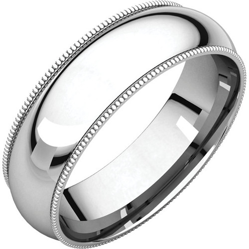 Milgrain Style Wedding Band with a High Polish Finish in a 6mm Width
