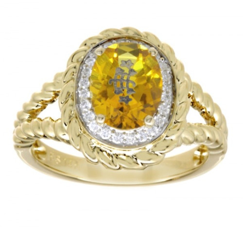 14k Yellow Gold Rope Detail Halo Golden Oval Baha'i Ringstone