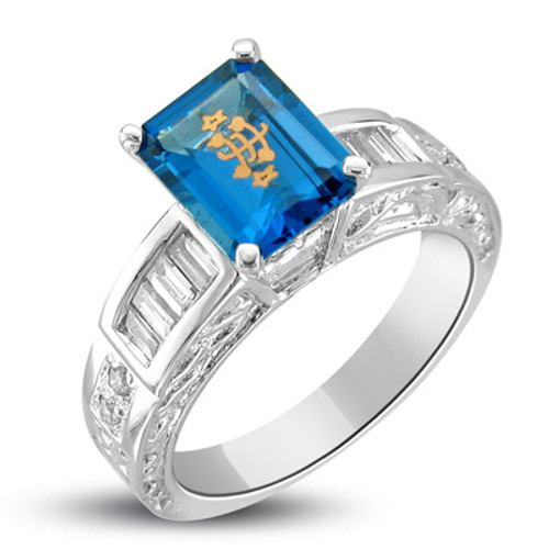 14k White Gold Baguette Carved Blue Emerald Cut Baha'i Ringstone