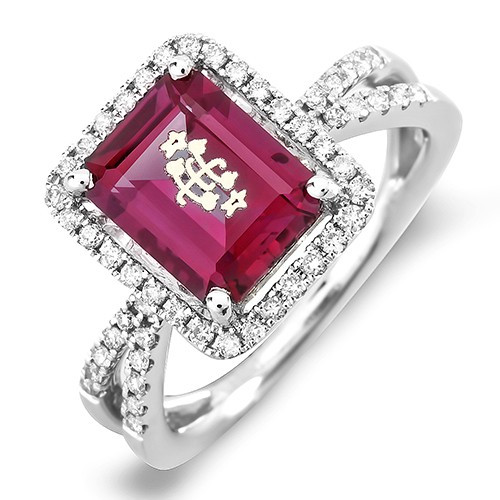 14K White Gold Halo Split Shank Red Emerald Cut Baha'i Ringstone