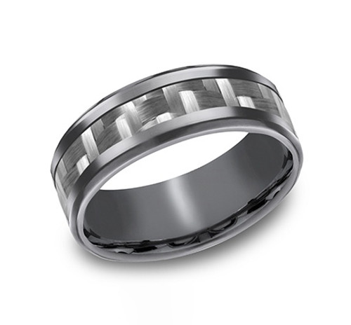 Carbon Fiber Inlay Tantalum Gent's Band