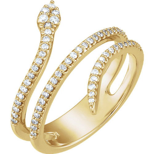 14kt Gold Round Diamond Accented Snake Ring