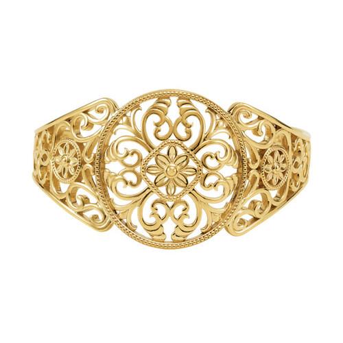 14kt Gold Filigree Disc Cuff Bracelet