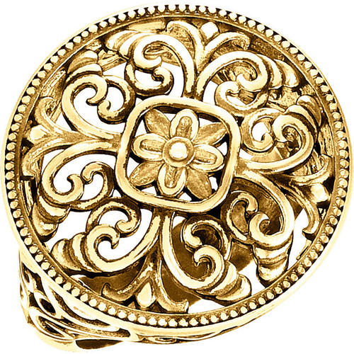 14kt Gold Filigree Disk Ring