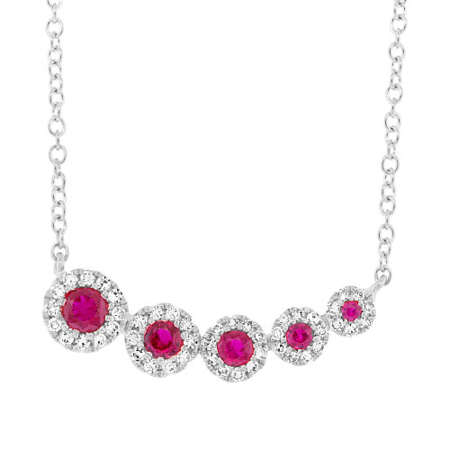 14kt Gold Ruby and Diamond Halo Graduated Bar Necklace