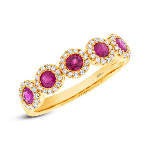 14kt Gold Ruby and Diamond Halo 5-Stone Band