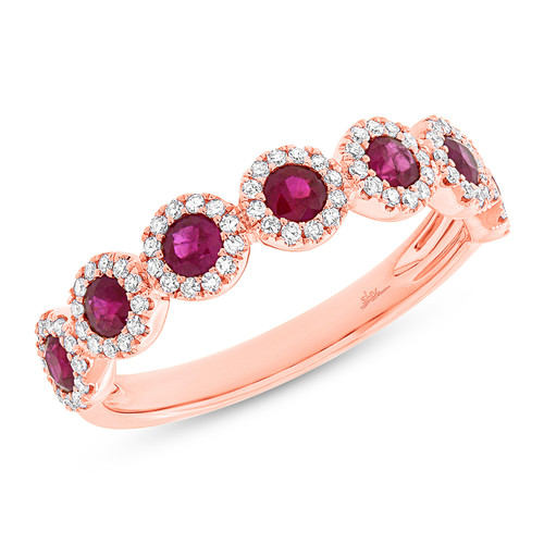 14kt Gold Ruby and Diamond Halo 7-Stone Band