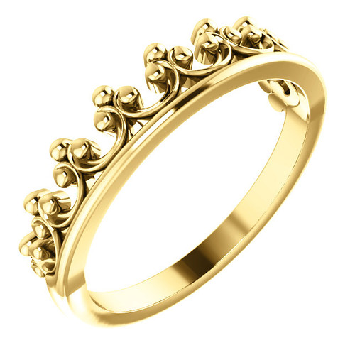 14kt Gold Crown Stackable Ring
