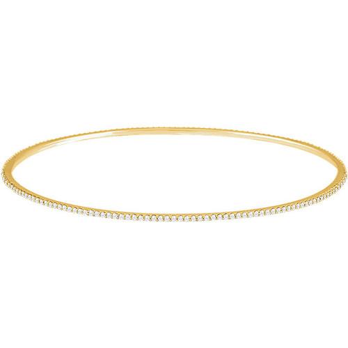 14kt Gold Prong Set 1CTW Stackable Bangle Bracelet
