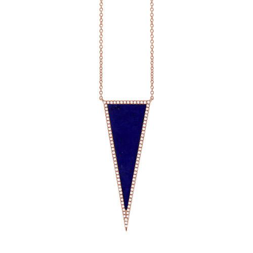 14kt Gold Lapis Triangle Halo Necklace