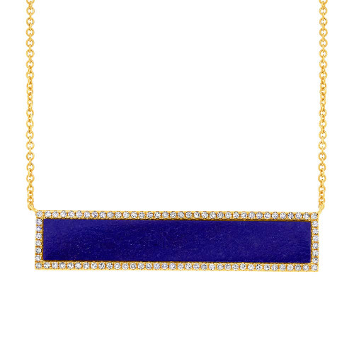 14kt Gold Lapis Bar Halo Necklace
