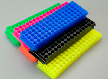 80-place microtube storage rack, Fluorescent colors, assorted, 5/PK