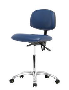 "Vinyl ESD & Clean Room Chair Chrome - Medium Bench Height 22-29"""