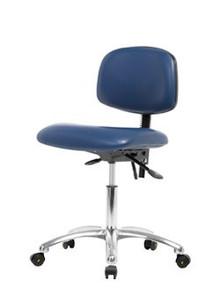 "Vinyl ESD & Clean Room Chair Chrome - Desk Height 19-24"""