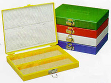 Microscope slide storage box, foam lined, holds 100 slides, nickel-plated clasp - EA, RED