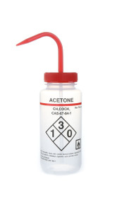 Wash Bottle with Safety Labels, Self-venting,  Acetone, Red Cap, 6/PK