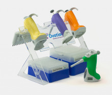 Vista Lab Ovation Pipette Stand for holding up to four electronic Ovation pipettes. Generous cut out frees up valuable lab bench space.