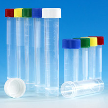 Transport Tube, 10mL, with Separate Red Screw Cap, NON-STERILE Polypropylene, Conical Bottom, Self-Standing, 1000/CS