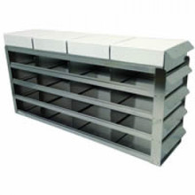 UFS-422 sliding freezer rack for two inch freezer boxes. Picture is illustrative.