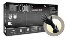 MIDKNIGHT® Black, powder-free Nitrile glove,  X-Small, 100/BX, 1000/CS