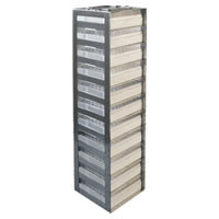 "Vertical spring clip rack for chest freezer 2"" boxes, capacity 11 boxes 24 1/4 x 5 5/8 x 5 1/2, 1/EA"