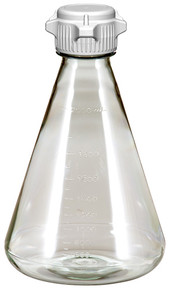 Laboratory Flask, PC, 2L, Flat Base, 53mm Versacap Vented, Sterilized 6/CS