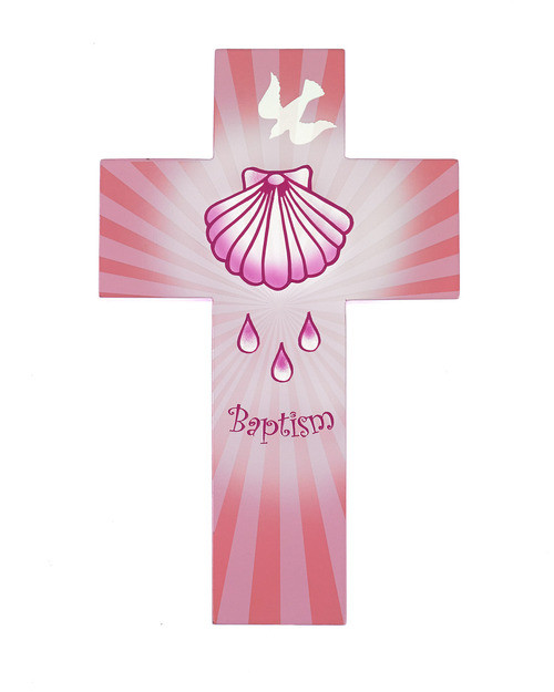 Pink Baptism Cross