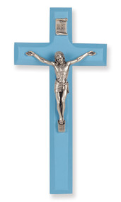 Blue Wood Crucifix