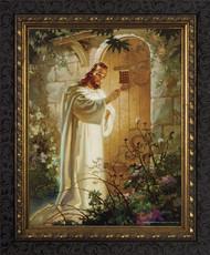 CHRIST AT HEART'S DOOR  - ORNATE DARK FRAME