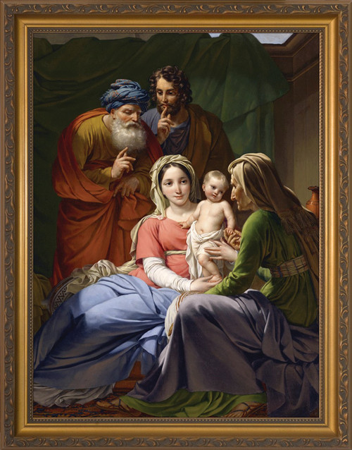HOLY FAMILY WITH GRANDPARENTS JOACHIM AND ANNE - STANDARD GOLD FRAME
