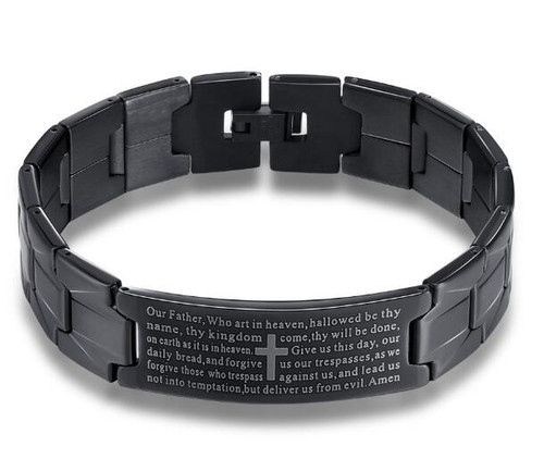 MEN'S BLACK STAINLESS OUR FATHER BRACELET BR889