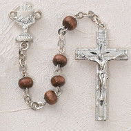 ROSARY BROWN WOOD RHODIUM CHALICE