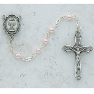 ROSARY PINK PEARL PEWTER COMMUNION