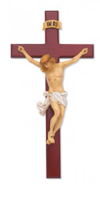 """15"""" BEVELED CHERRY STAINED CRUCIFIX WITH HAND PAINTED ITALIAN CORPUS 79-42601--FREE SHIPPING!"""