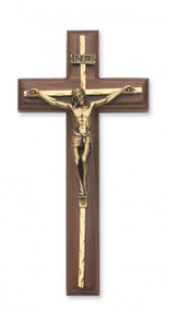 """10"""" WALNUT WOOD CRUCIFIX WITH HAMMERED BRASS OVERLAY & SILVER CORPUS 79-15"""