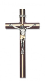 "10"" CHERRY STAINED BEVELED WOOD INLAY CRUCIFIX WITH TWO TONE CORPUS 79-42656"