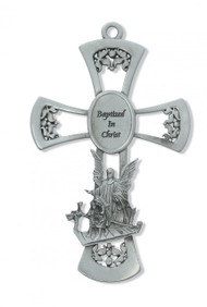 "6"" PEWTER GUARDIAN ANGEL WALL CROSS ""BAPTIZED IN CHRIST"" 73-14"