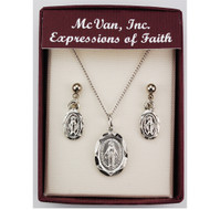 OVAL MIRACULOUS PENDANT AND EARRING SET