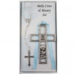 PEWTER BOY CROSS & ROSARY SET BS44