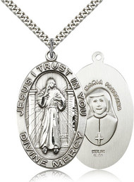 Divine Mercy Sterling Silver Medal 5874-bliss