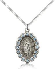 Our Lady of Guadalupe Swarovski Crystals Sterling Silver Medal 2009FA-bliss