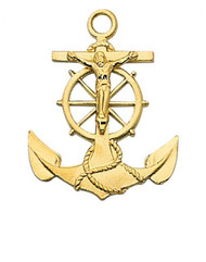 GOLD OVER STERLING SILVER ANCHOR CRUCIFIX J422
