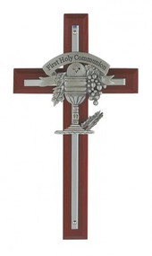 CHERRY STAINED CROSS WITH SILVER CROSS & PEWTER CHALICE 75-11