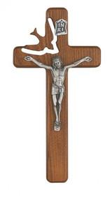 "WALNUT STAINED HOLY SPIRIT 8"" CRUCIFIX 77-06"