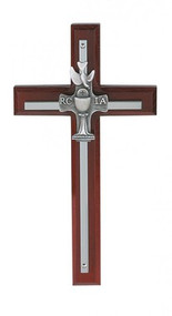 "SILVER RCIA CROSS ON CHERRY STAINED WOOD 7"" 77-17"