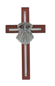 "SILVER GIFTS OF THE SPIRIT 7"" CROSS ON CHERRY STAINED WOOD 77-18"