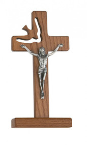 "WALNUT STAINED STANDING HOLY SPIRIT 6"" CRUCIFIX 77-25"