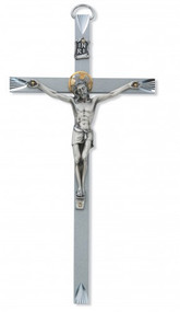 """ENGRAVED 10"""" ALUMINUM CRUCIFIX WITH GOLD HALO 79-65"""