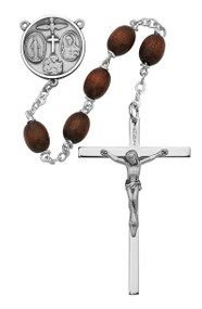 BROWN WOOD ROSARY 6X8MM 137L-BRF
