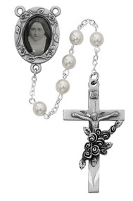 GLASS PEARL ROSARY WITH PHOTO CENTER 6MM 792DF
